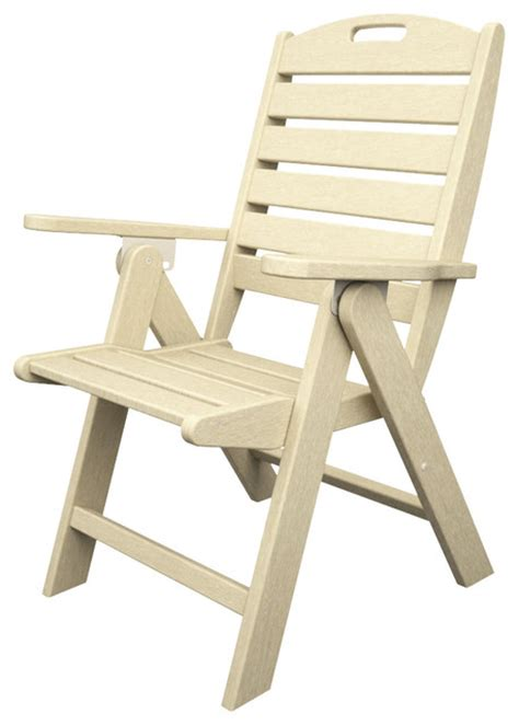 High Back Folding Garden Chairs by Nautical High Back Folding Chiar Sand All Weather Outdoor
