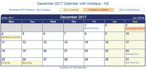 printable december 2017 calendar nz print friendly december 2017 new zealand calendar for printing
