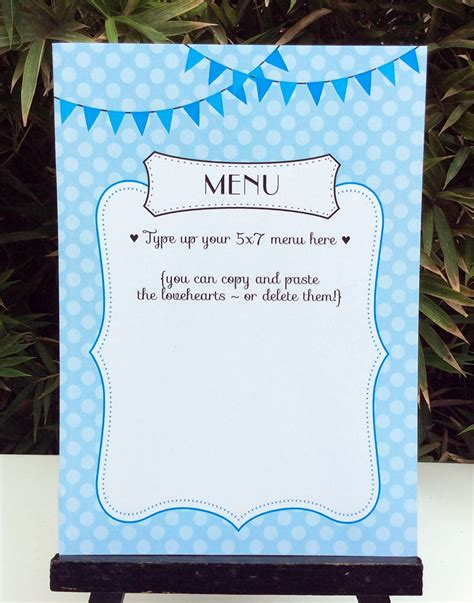 baby shower menu template free 6 best agenda templates