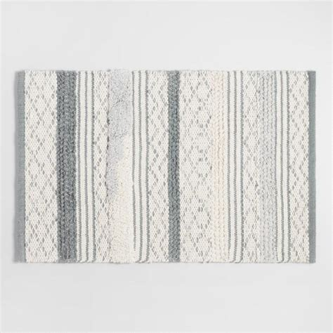 world market bath rugs gray and ivory woven and tufted striped bath mat world market