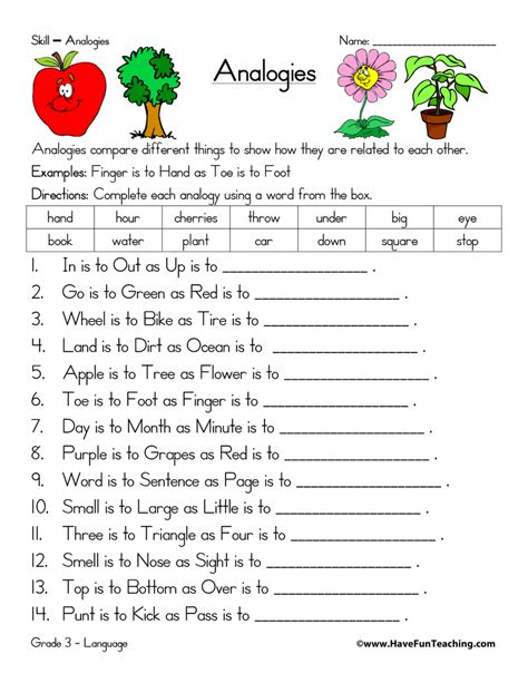 Free Analogies Worksheets by Analogy Worksheets Teaching