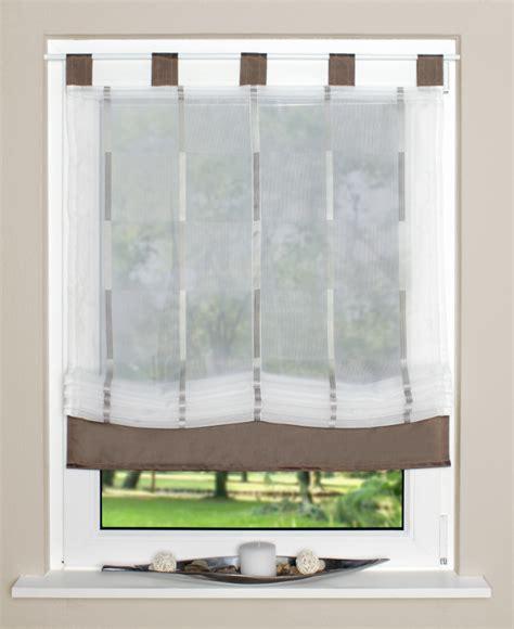 gardinen mit schlaufen raffrollo rollo schlaufen wei 223 transparent mit braunen