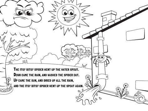 Itsy Bitsy Spider Book Page Coloring Pages Itsy Bitsy Spider Coloring Page
