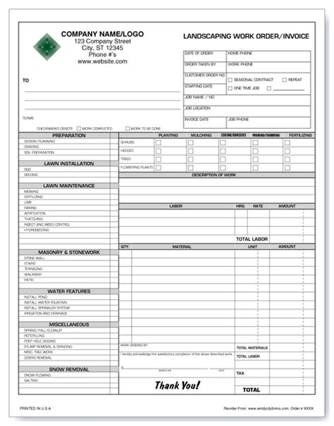 deposit receipt template for landscaping work to be done landscaping work order invoice version 2 windy city forms