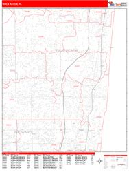 zip code map boca raton boca raton florida zip code wall map red line style by