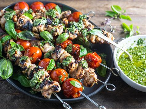 cucinare kebab grilled lemon garlic chicken and tomato kebabs with basil