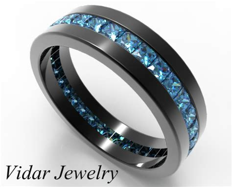 black gold princess cut blue diamond wedding band
