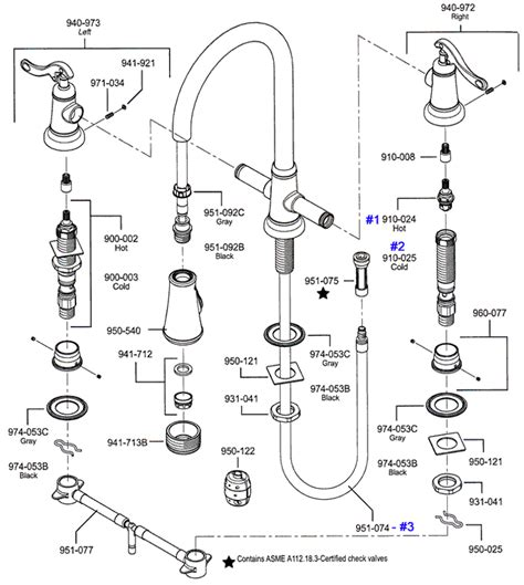 kitchen sink faucet parts diagram faucet parts