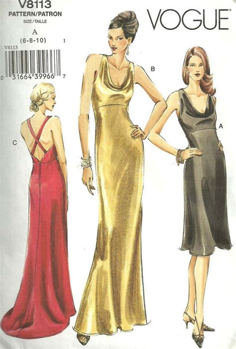 patten university clothing vogue 8113 sewing pattern gown evening dress size 6 8 10