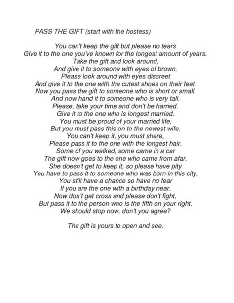 Baby Shower Pass The Gift Poem by Baby Shower Pass The Gift Wblqual