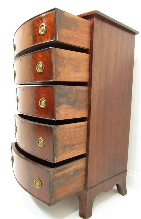 20 Inch Wide Chest Of Drawers An Antique And Narrow Flamed Bow Front Mahogany Chest