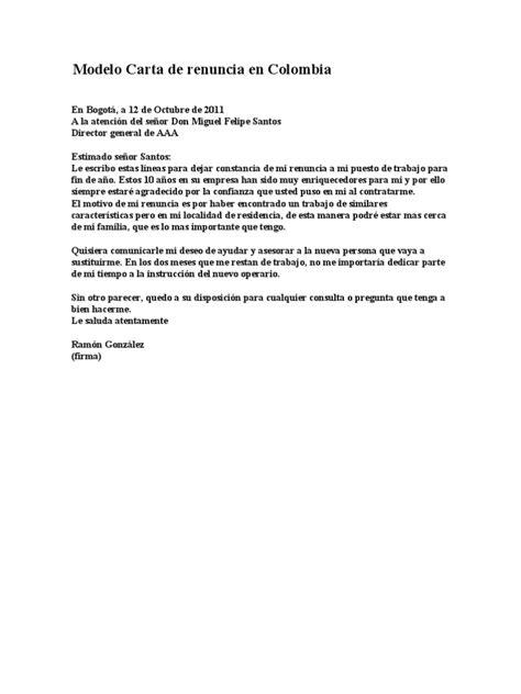 carta de solvencia modelo modelo carta de renuncia en colombia