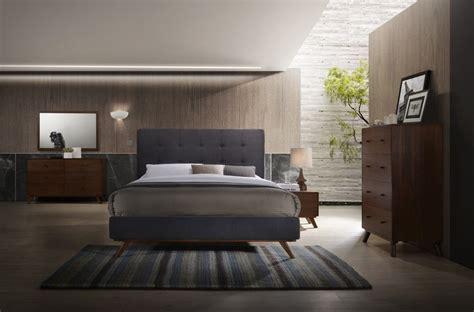 modrest addison mid century modern grey walnut bedroom