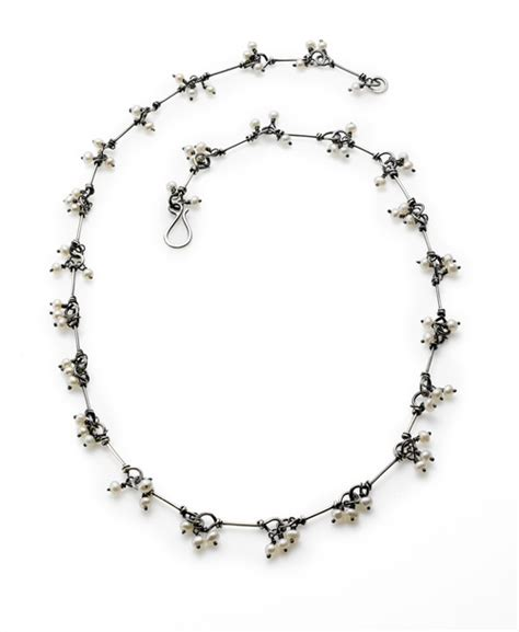 Oxidised Silver Collier P 184 seed pearl and oxidized sterling silver necklace by susan drews watkins a best seller gallery