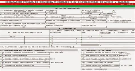 Formulario Industria Y Comercio Cali En Excel | excel contable colombia modelo formulario impuesto