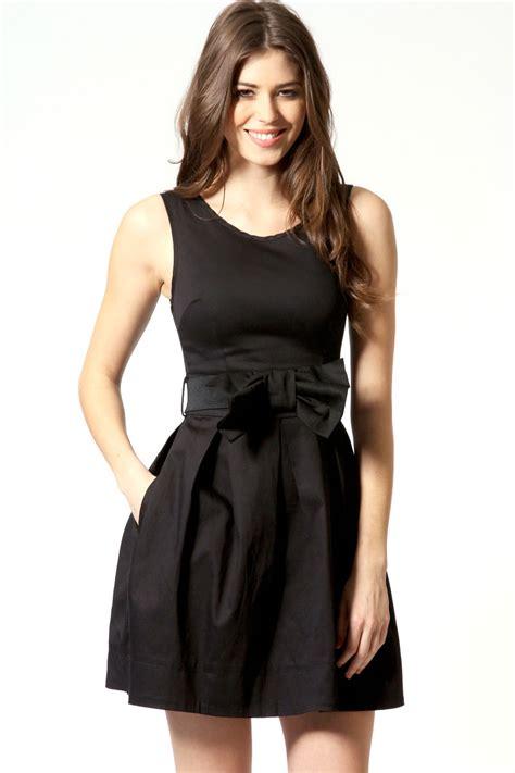 boohoo maisy belted skater dress in black ebay