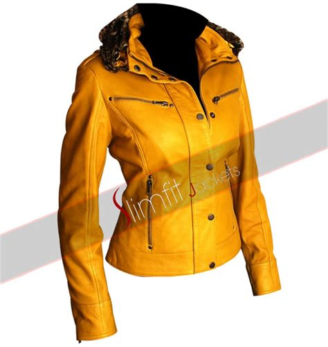 yellow motorcycle jacket slim fit s yellow hooded fur biker jacket