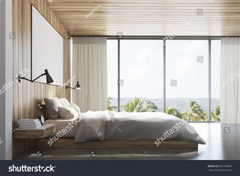 bedroom side view side view light wooden wall bedroom stock illustration