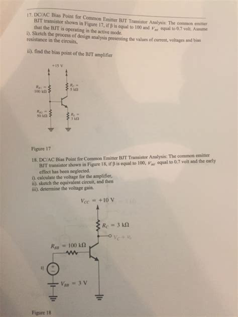 bjt transistor questions 17 dciac bias point for common emitter bjt transi chegg