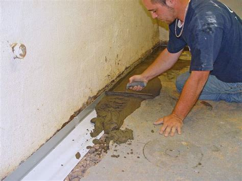 Interior Perimeter Drainage System by Foundation Waterproofing Options Interior Exterior