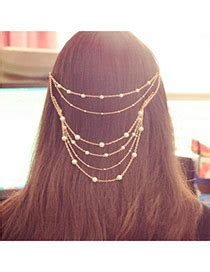 Bandodetachable Pink Blink Abrazine Design Plastic Hair Band Hair Hoop gold color leaf chain tassels style alloy hair band
