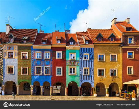 colorful buildings colorful buildings located on a square of poznan city