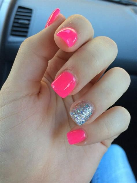 nail ideas for miami beach manicure pinterest girls hot pink with silver glitter ring finger nails