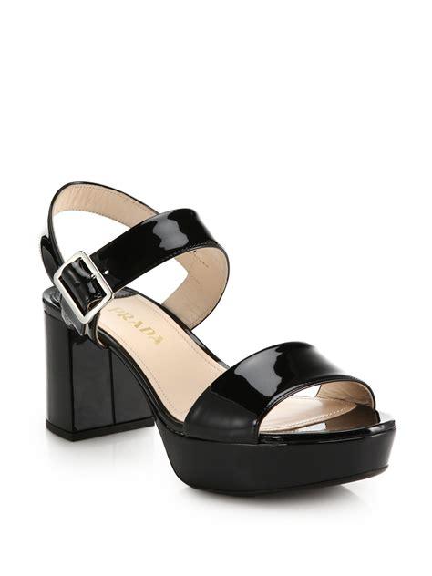 black prada sandals prada patent leather sandals in black lyst