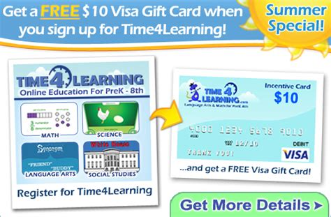 Visa 10 Gift Card - get a 10 visa gift card with time4learning