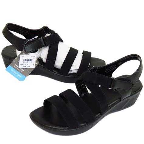 comfortable peep toe wedges ladies black strappy elastic wedge comfort peep toe casual