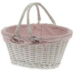 White Wicker Basket With Handle White Oval Wicker Basket With Gingham Lining And Carry
