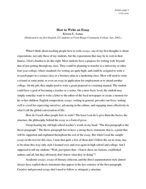 Ways To Structure An Essay by How To Write An Essay
