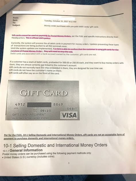 Usps Gift Cards - usps sends out memo banning gift card use for money orders miles points more
