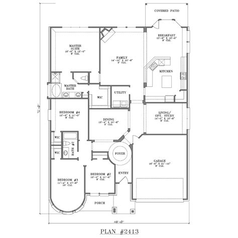 Four Bedroom House Plan by 4 Bedroom House Plans One Story Studio Design