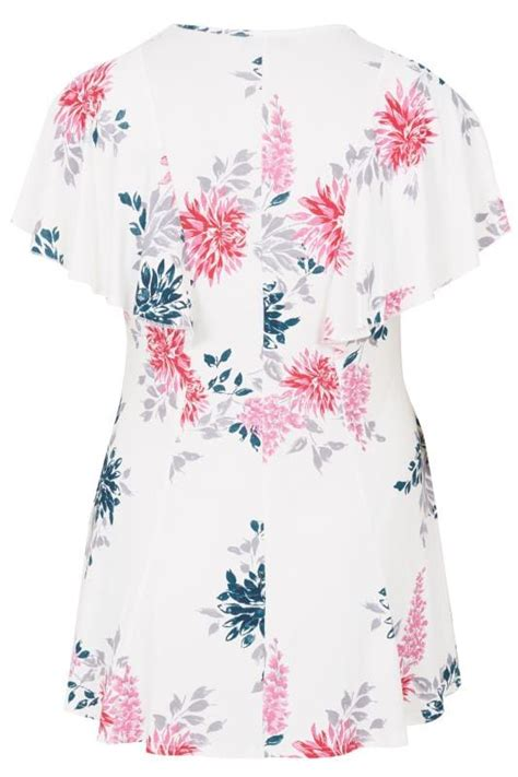 Android Sketch Raglan white pink floral print peplum top with sleeves