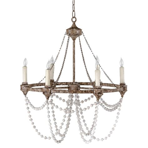 white bead auvergne country rustic iron white bead chandelier
