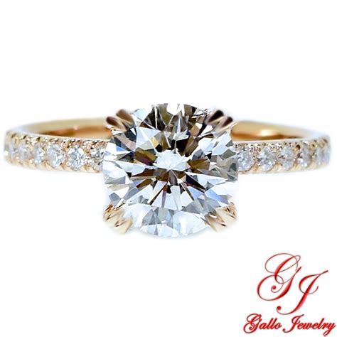 eng01798 gold halo thin engagement ring center
