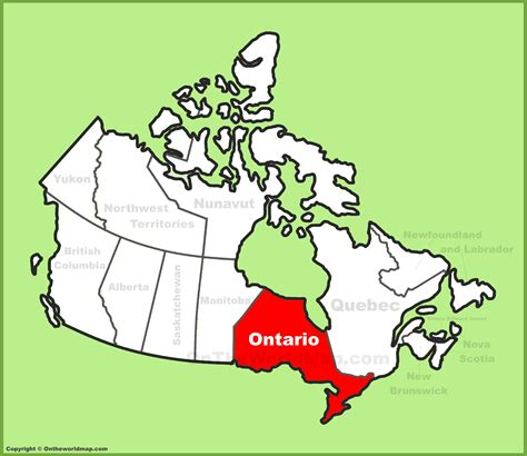 ontario on canada map ontario location on the canada map