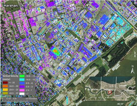 map of new orleans projects nasa maps show new orleans is dropping up to two inches a