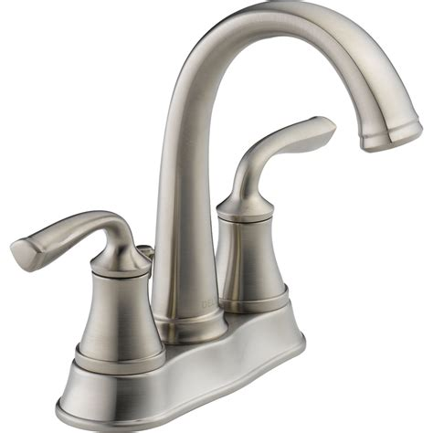 Delta Fixtures Bathroom Shop Delta Lorain Stainless 2 Handle 4 In Centerset Watersense Bathroom Faucet Drain Included