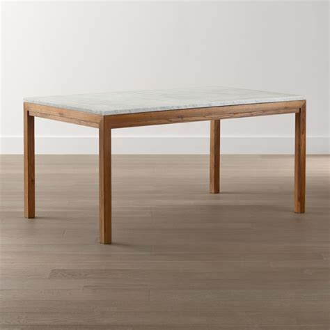 Parsons White Marble Top/ Elm Base Dining Tables   Crate