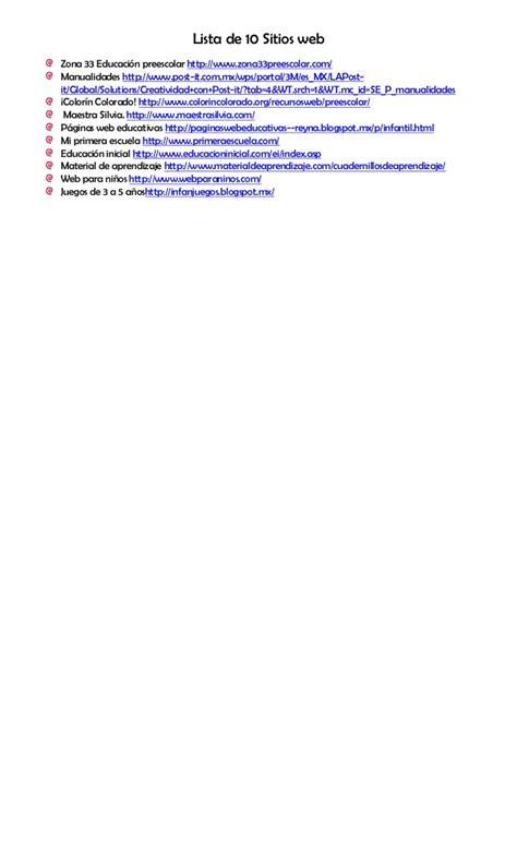 10 sitios en la web 10 sitio web y la lista de cotejo 1 1