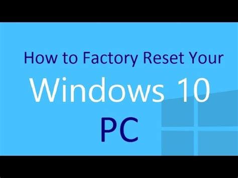 resetter l200 windows 10 how to factory reset your windows 10 pc youtube