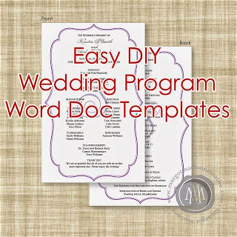 Margotmadison Diy Wedding Program Word Doc Templates Now Available Word Document Wedding Program Template