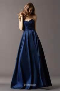 navy blue taffeta strapless sweetheart neck long