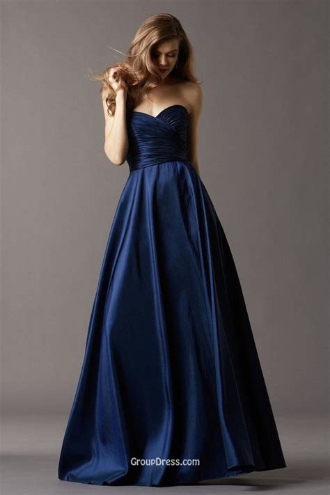 Bridesmaid Gown by Navy Blue Taffeta Strapless Sweetheart Neck