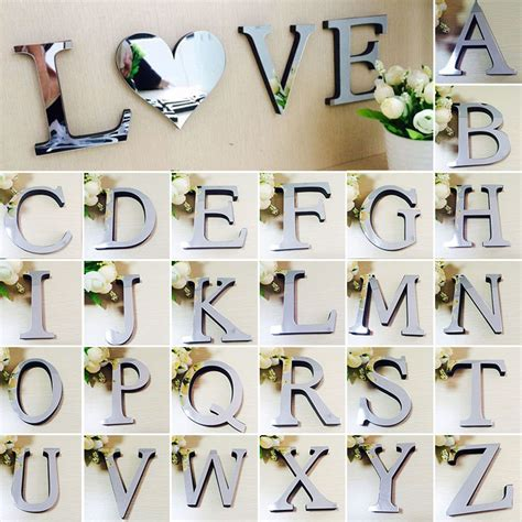 Silver Letters Home Decor by 3d Mirror Wall Sticker 26 Letters Silver Diy Wall