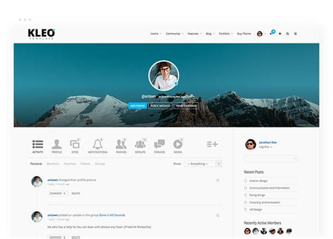 buddypress themes like facebook buddypress wordpress premium theme kleo template