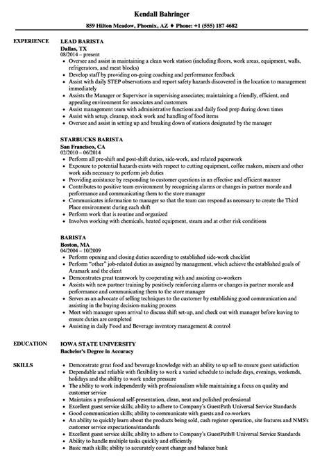 sle resume for barista position barista resume sles velvet