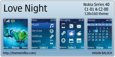 Themes For Nokia C1 C2 | love night theme for nokia c1 01 c2 00 themereflex